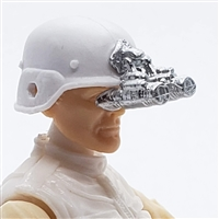 "Headgear: NVG Night Vision Goggles with Plug SILVER Version - 1:18 Scale Modular MTF Accessory for 3-3/4"" Action Figures"