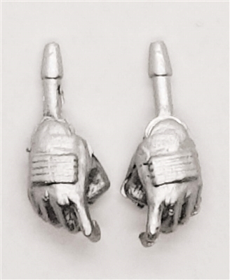 "Female Hands: SILVER Gloves with SILVER Pads - Right AND Left (Pair) - 1:18 Scale MTF Valkyries Accessory for 3-3/4"" Action Figures"