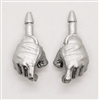 "Male Hands: SILVER Full Gloves Right AND Left (Pair) - 1:18 Scale MTF Accessory for 3-3/4"" Action Figures"