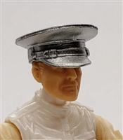 "Headgear: Officer Cap ""Dress Hat"" SILVER Version - 1:18 Scale Modular MTF Accessory for 3-3/4"" Action Figures"