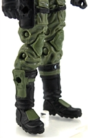 "Male Legs: GREEN and BLACK Cloth Legs (NO Armor) -  Right AND Left Pair-NO WAIST-LEGS ONLY  - 1:18 Scale MTF Accessory for 3-3/4"" Action Figures"