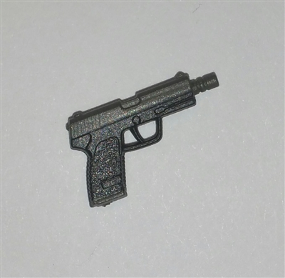 TACTICAL Automatic Pistol GUN-METAL Version - 1:18 Scale Weapon for 3-3/4 Inch Action Figures