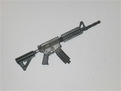 "M4 Carbine Assault Rifle with Ammo Mag GUN-METAL Version BASIC - ""Modular"" 1:18 Scale Weapon for 3-3/4 Inch Action Figures"
