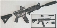 "M4 Carbine Assault Rifle BLACK & GUN-METAL Version DELUXE - ""Modular"" 1:18 Scale Weapon for 3-3/4 Inch Action Figures"