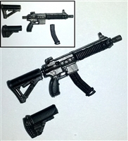 "FO6c Compact Assault Rifle w/ Mag GUN-METAL Version BASIC - ""Modular"" 1:18 Scale Weapon for 3-3/4 Inch Action Figures"