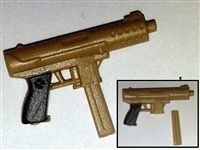 Tek-9 Machine Pistol with Mag TAN Version - 1:18 Scale Weapon for 3-3/4 Inch Action Figures