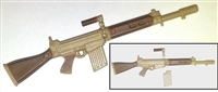 FN FAL Assault Rifle with Handle & Magazine TAN Version - 1:18 Scale Weapon for 3-3/4 Inch Action Figures
