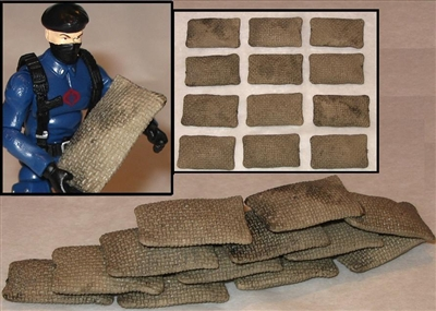 Sandbags Set of 12 (TWELVE) - 1:18 Scale Accessories for 3 3/4 Inch Action Figures