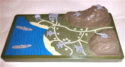 Contoured Terrain Battle Map with Buildings, Planes, Cannons & Boats - 1:18 Scale Accessory for 3 3/4 Inch Action Figures