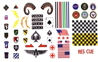 Marauder Task Force Flight Helmet Designs - Die-Cut Sticker Sheet - 1:18 Scale Accessories for 3 3/4 Inch Action Figures