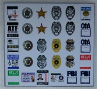 Marauder Task Force Law Enforcement Badges & Federal Agent ID Cards - Die-Cut Sticker Sheet - 1:18 Scale Accessories for 3 3/4 Inch Action Figures