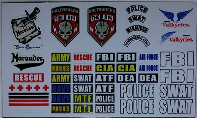 Marauder Task Force Military Branches & Law Enforcement - Die-Cut Sticker Sheet - 1:18 Scale Accessories for 3 3/4 Inch Action Figures