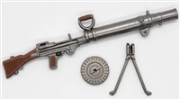 British LEWIS Machine Gun with Pan Magazine & Bipod - 1:18 Scale Weapon for 3-3/4 Inch Action Figures