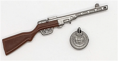 Russian Ppsh-41 SubMachine Gun with Ammo Drum - 1:18 Scale Weapon for 3-3/4 Inch Action Figures